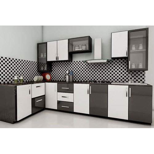 Residential Acrylic L Shaped Modular Kitchen, Warranty: 1
