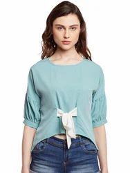 Plain Casual Beautiful Designer Bi Shrinkage Yarn Tie Up Top