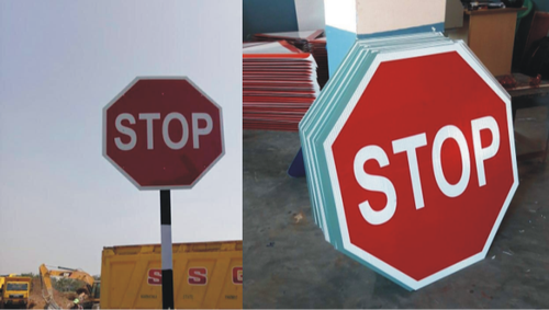 Hexagon Round Reflective Type 4 Traffic Sign Boards, Dimension: 900 mm