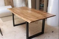 Vintage Industrial Live Edge X Frame Dinning Table, Iron & Acacia Wooden Live Edge Table