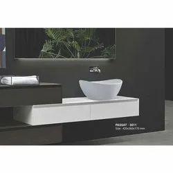 Cura Plain Passat-3011 Ceramic Countertop Basins, Dimension: 420x360x170mm