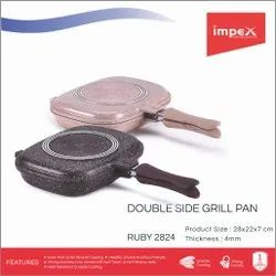 Impex Die-Cast Double Grill Pan 28 cm (RUBY 2824)