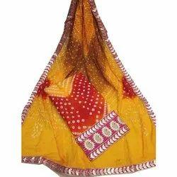 Silk Unstitched Fancy Bandhani Suit