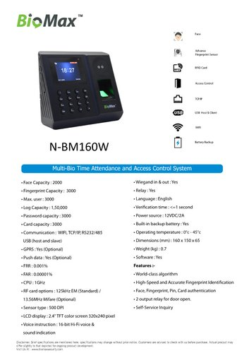 N Bm 160w Biometric System