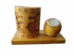 Rupee Engraved Handmade Wood Pen Holder With Clock