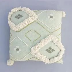 Tufted Handloom Pom Pom Throw Cushion Cover 45x45 Cm Cotton Patch Tufted Green Mudcloth Pillow