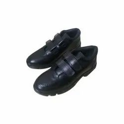 Leather Unisex Black School Shoes, Size: 6-10