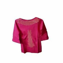 Cotton Pink Party Wear Girls Top, Age: 07-12 Years