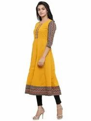 Yash Gallery Women's Cotton Geometric Print Anarkali Kurta