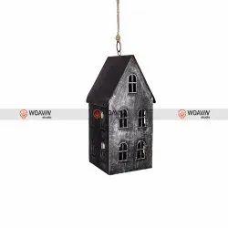 Woavin Studio Wood Light House Grey, Size: 13x11x17 Cms