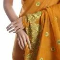 Mustard Chanderi Silk Embroidered Saree Without Blouse Piece