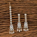 White Cz Two Tone Plated Earring With Tikka 405616