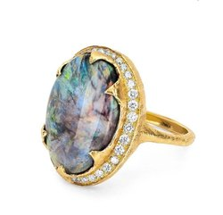 14K Yellow Gold Bark Texture Opal Ring