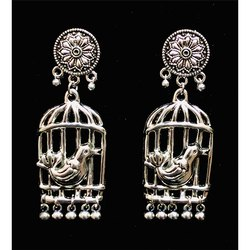 Bird with Cage Oxidized Earrings