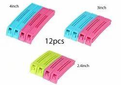 Multipurpose Food Snack Plastic Bag Clip Sealer (Multicolor) -12pc, Packaging Type: Box