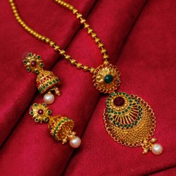 Available In Zinc,Brass Golden Artificial Long Necklace Sets