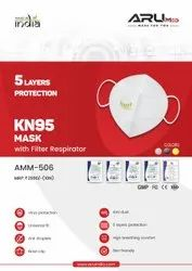 ARU AMM-506 KN-95 With Filter 5 Layer Protection Face Mask-White