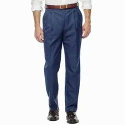 Blue Formal Mens Pleated Trouser