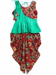 Patch Top With Printed Rayon Dhoti-Green