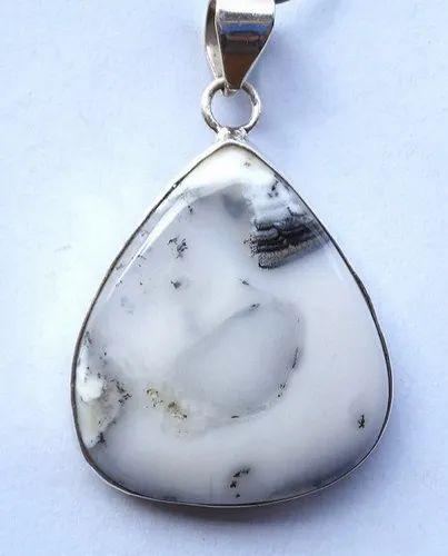 White Dendrite Opal Gemstone Pendant