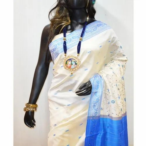 White and blue South Silk Designer Saree, 6 m (with blouse piece)