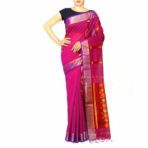 Party Wear Pochampally Ikkat Sico Saree, 6.3 m (with blouse piece)