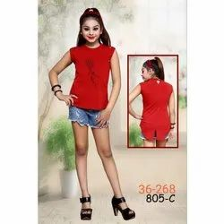 Casual Wear Printed Kids Girls Strawberry Fancy Top, Age: 6-12 Years