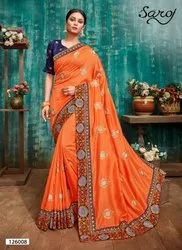 Designer Embroidery Border Silk Saree