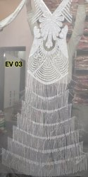 Rajgadhia Handicrafts Net White Evening Gown