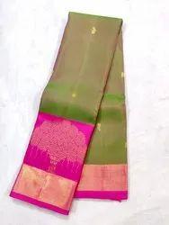 6.3 m (with blouse piece) Kanchepuram Silk Sarees Handloom Sarees