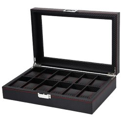 Carbon Fibre Pattern Watch Box Watch Holder Storage Box Jewelry Display Rectangle Black Col