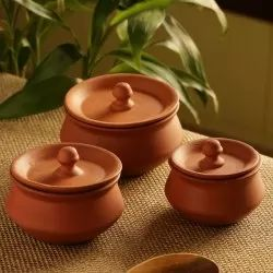 Earthen Brown Exclusivelane Handmade Earthen Clay Handis with Lids Set of 3