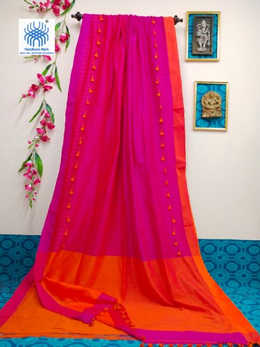 Cotton Handloom Pom Pom Border Saree, Length: 6.3 m