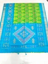 Wedding Green Handloom Double warp Ikkat Silk Saree with Blouse