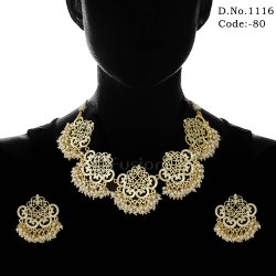 Traditional Filigree Necklace Set With Clustered Pearls
