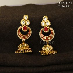 Traditional Antique Vilandi Kundan Jhumka Earrings