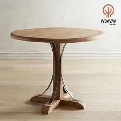 Master-Crafted Heavy Duty Solid Wood Indian Jodhpur Style Round Top Wooden Dining, Coffee Table