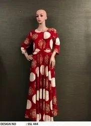 Red & White Rayon Kurti