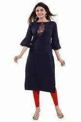 Flower Embroidered Crepe Kurti