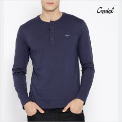 Cotton Full Sleeve Henley Neck T-shirt