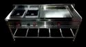 Synergy Technics Ss304 Two Burner Cooking Range With Dosa Plate, For Restaurant