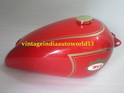 New Bsa B31 Red Painted Gas Fuel Petrol Tank (Reproduction) With Brass Cap And Tap