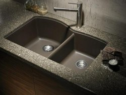 JAI HO Double Granite Kitchen Sink, Size: 45X20X9