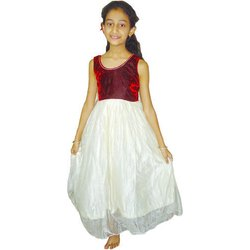 Party Wear Eminence Maroon and White Plain Girl Frock