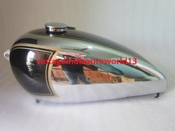 New Bsa B31 Black Painted Chrome Petrol Tank With Speedometer Cavity