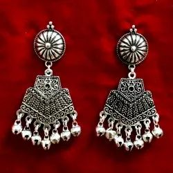 Oxidized Silver Color Indian Jhumki Earrings for Women