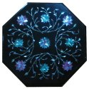 Black Marble Inlay Table Top Pietra Dura Home And Garden Decor
