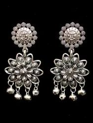 Designer Oxidized in Flower Shape Stud Earrings