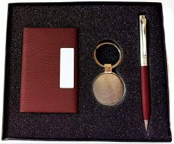 3 in 1 Combo Gift Set with Cardholder, Pen and Metal Key Chain (Brown)