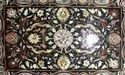 Black Marble Coffee Center Table Top Pietra Inlay Work Home Decor Art